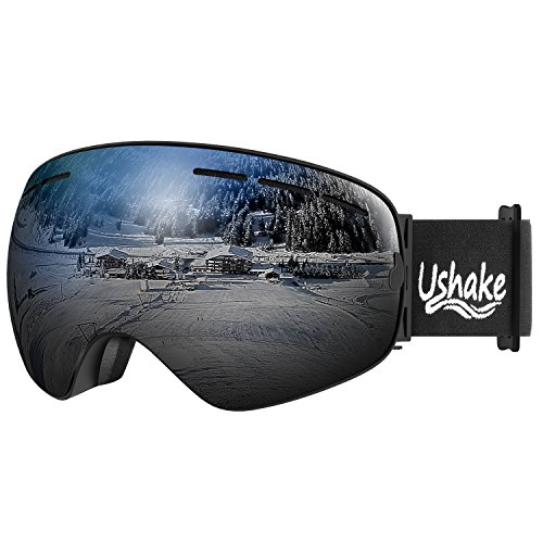 UShake Ski Goggles, Snow Skiing Goggles with UV400 Protection Detachable Anti Fog Anti Scratch Mirrored Lenses for Adults or Youth