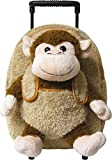 Kids Beige Rolling Backpack With Monkey Stuffie -Affordable Gift for your Little One!