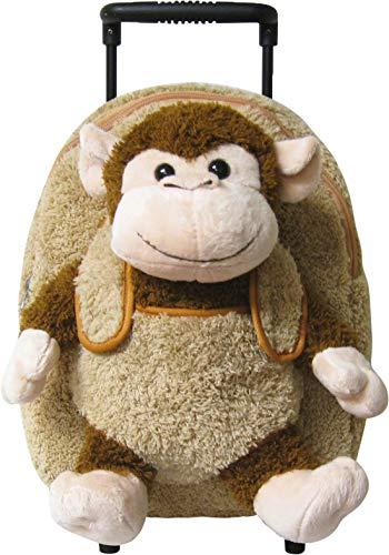 (Kreative Kids Beige Monkey Rolling Backpack w/Removable Stuffed Toy & Wheels)