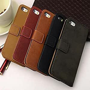 iPhone 5S Case, WKell Wallet Style PU Leather Full Body Case with Stand and Card Slot for iPhone 5/5S (Assorted Color),Brown