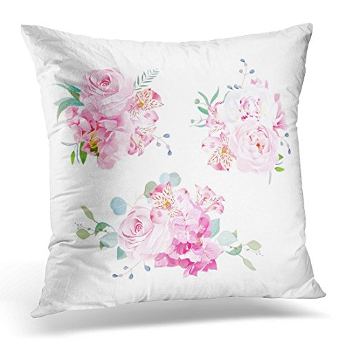 (hngwkjyx Throw Pillow Covers Gentle Mix of Pink Bouquets Rose Alstroemeria Lily White Peony Hydrangea Eucalyptus Plants and Herbs Decorative Pillow Case Home Decor Square 18W X 18L)