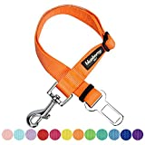 Blueberry Pet New Classic Solid Color Adjustable Dog Seat Belt Tether for Dogs Cats, Florence Orange, Durable Safety Car Vehicle Seatbelts Leads Use with Harness