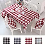 Queenie - 1 Pc Country Style Checkers Plaids Cotton Linen Table Cloth Available in 4 Colors and 5 Sizes (Red, 55 x 71 inch (140 x 180 cm))