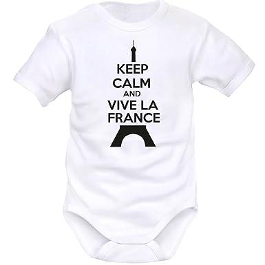 a30b425f5f4d1 SIMEDIO Body bébé Keep Calm and Vive la France (8 Couleurs)  Amazon ...