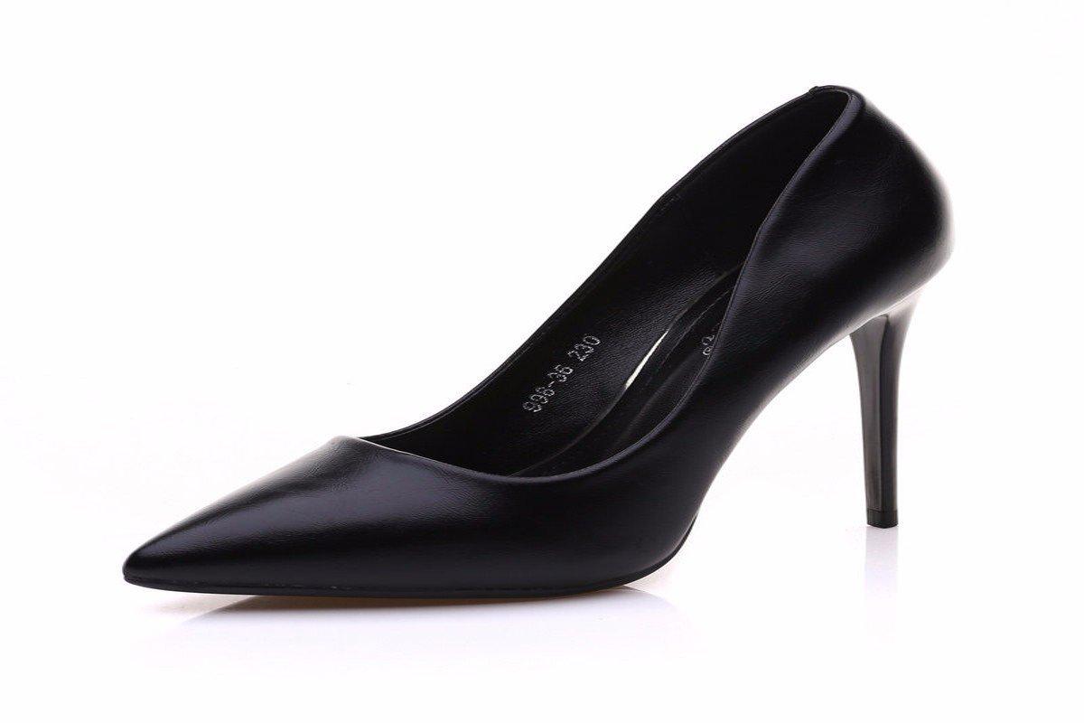 HBDLH HBDLH HBDLH Damenschuhe Einzelne Schuhe Frauen Im Frühjahr und Im Herbst Starke Punkte 10Cm Hochhackigen Schuhe Professionelle Leder Schuhe Schwarze Frauen Schuhe. 585957