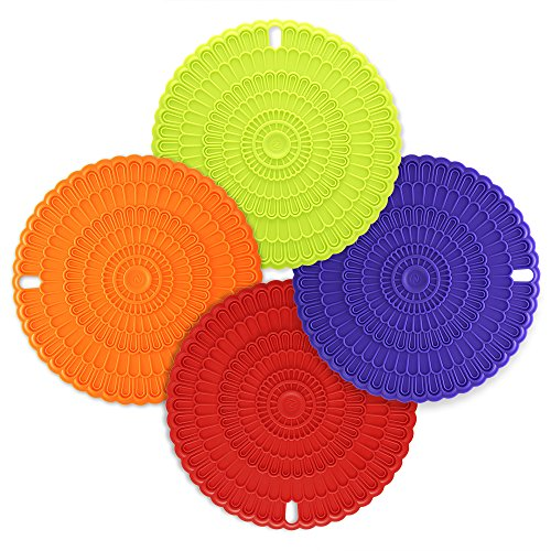 Silicone Jar Mat Opener (Zanmini 4pcs Trivet Mats / Hot Pads,Insulation, Durable, Flexible Hot Pads,Pot Holders, Spoon Rest, Jar Opener.(colorful))