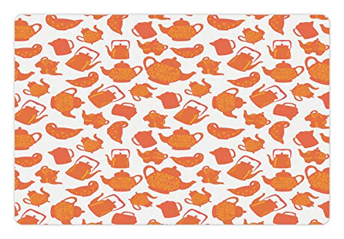 (Ambesonne Tea Pet Mat for Food and Water, Old Fashioned Classic Ornament Teapots Ceramic Antique Teatime Beverage Pattern, Rectangle Non-Slip Rubber Mat for Dogs and Cats, Orange Rust White)