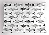 Ambesonne Marine Pillow Sham by, Fishes Pattern in Soft Color Different Body Motif Watercolor Style Nautical Artwork, Decorative Standard Size Printed Pillowcase, 26 X 20 Inches, Grey Black