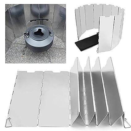 Skitior Parabrisas Aleación de Aluminio Plegable Escudo Pantalla de Viento Cortavientos al Aire Libre para Cocina