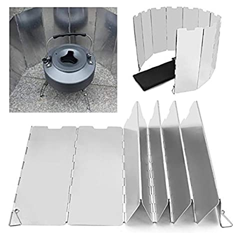 FOLDING ALUMINIUM WINDSHIELD Camping Gas Stove Wind Shield Cooking Cooker Screen