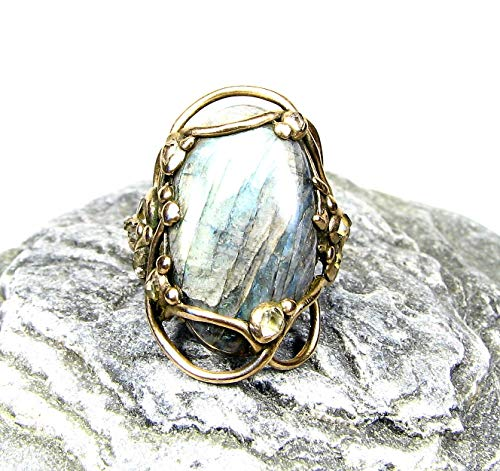Antique Style Golden Bronze Ring-Labradorite.Herkimer-Size -