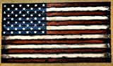 Wooden American Flag decor sign | Consists of thirteen, individually worn out pieces of wood | American Flag Wall Art | Rustic decor | Engraved plaque can be placed on bottom