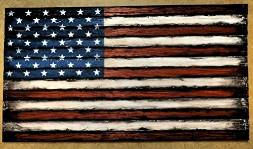 (Wooden American Flag decor sign | Consists of thirteen, individually worn out pieces of wood | American Flag Wall Art | Rustic decor | Engraved plaque can be placed on bottom)