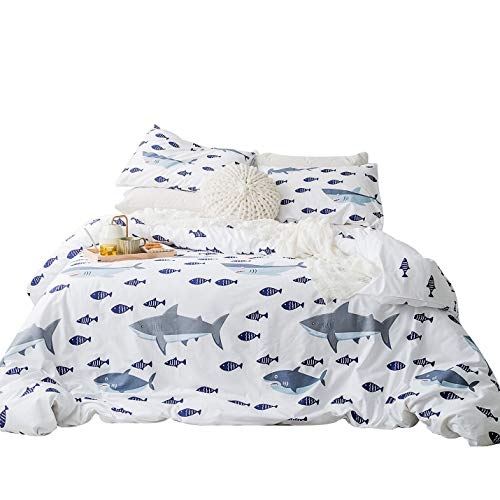(SUSYBAO 3 Pieces Duvet Cover Set 100% Natural Cotton White Queen Size Navy Blue Cartoon Fish Print Bedding with Zipper Ties 1 Blue Grey Shark Duvet Cover 2 Pillowcases Luxury Quality Soft Lightweight)