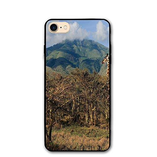 (Haixia IPhone 7/8 Phone Case 4.7 Inch Zoo Giraffe Among Trees Prickly Acacias Grazing Mountain Africa Safari Savanna Decorative Green Blue Light)