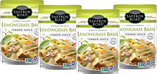Basil Lemongrass - Saffron Road Simmer Sauce, Non-GMO, Gluten-Free, Halal, Kosher, Vegan, Lemongrass Basil, 4 Count, 7 oz