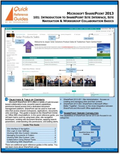 Microsoft SharePoint 2013 Quick Reference Guide: Introduction to SharePoint 2013 (101) (Best Platform For Web Application Development)