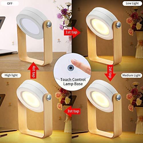 Bromose - Lámpara de mesilla de noche regulable táctil, luz nocturna para bebé, portátil, mini lamparas de mesa, 3 modos, de luz Recargable Uso Inalambrico