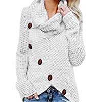 Morecome Women Casual Button Wrap Long Sleeve Loose Blouse Sweater Sweatshirt Fashion Pullover Tops Shirt