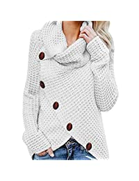 COOgjoei Women Pullover Long Sleeve Turtleneck Button Patchwork Jumpers Split Hem Blouses