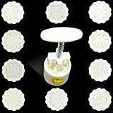 Ipow Round Diy Chinese Mooncake Cake Pastry Biscuits Cookies Mold Cutter Maker Tool- 1 Hand Pressure Barrel and 10 Mode Pattern