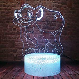 xcdfr 3D Night Light Baby Light Table Lamp Cute Lion King of The Jungle Animals Cool Smart Safe Crack Base 7 Colors Change Children Xmas Gifts