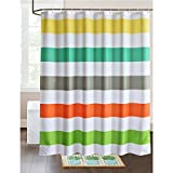 LanMeng Fabric Shower Curtain Colorful Rainbow Cross Stripe, Mildew Resistant Waterproof / Water-Repellent and Antibacterial, White Yellow Turquoise Grey Red Green (72-by-72 inches, 13)