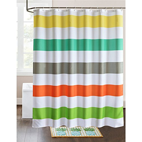 LanMeng Fabric Shower Curtain Colorful Rainbow Cross Stripe, Mildew Resistant Waterproof / Water-Repellent and Antibacterial, White Yellow Turquoise Grey Red Green (72-by-72 inches, (Rainbow Stripes Curtain)