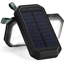 Solar Charger, 8000mAh 3-Port USB and 21LED Light Solar Power Bank Portable Battery Cellphone Charger, Solar Panel for Emergency Outdoor Camping Hiking for IOS and Android cellphones (Black)