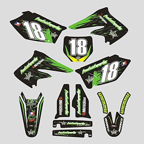 (JFG RACING Customize Motorcycle Complete Adhesive Decals Stickers Graphics Kit For Kawasaki KX250F KXF250 2004 2005)