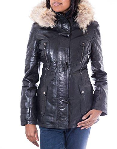 Para mujer abrigo tres cuartos de cuero Negro. Capucha de piel. Cuerno botones de alternancia