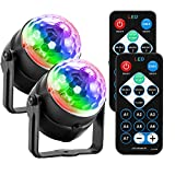 Sound Activated Strobe Light, ALLOMN Disco Ball Light Party Lights with Remote Control Portable DJ Dance Lighting Adjustable Mode Speed Colors for Disco Ballroom Birthday Wedding Club Pub 2 Pack