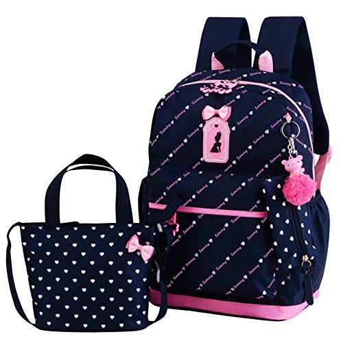 VIDOSCLA 3Pcs Heart Printing Backpack Sets Bowknot Primary Schoolbag Travel Daypack Shoulder Bag Pencil Case