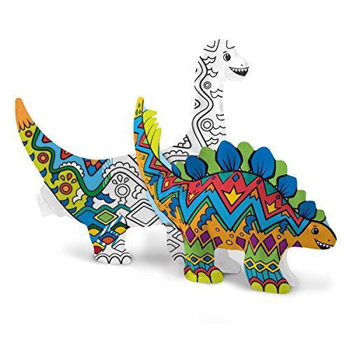 OOLY 161-017 , 3D Colorables Dinosaur Friends , Set of 2 - Do It Yourself Mask