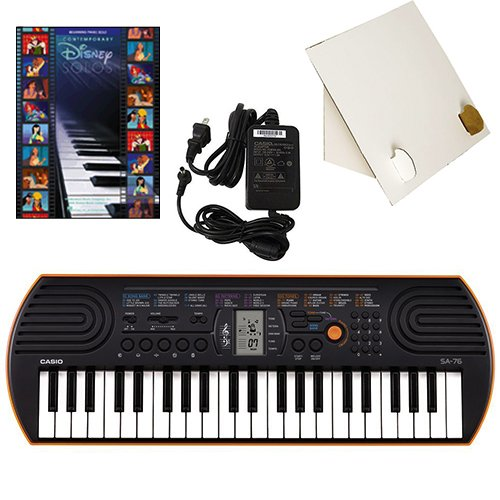 Casio SA-76 44 Key Mini Keyboard Deluxe Bundle Includes Bonus Casio AC Adapter, Desktop Music Stand & Disney Solos Beginning Piano Solo Songbook by Casio