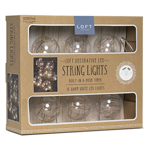Loft Living LED Copper Wire String Lights with Automatic Daily Timer, 10ft./3m w/ 6 Vintage Glass Globes and 30 Warm White LEDs, Battery Powered, Best Home Décor, Arts and Crafts, Soft Accent Lighting 30 White Glass Globes