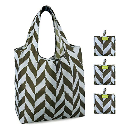 Grocery Folding Bags 3 Pack Bulk with Little Pouch Large Capacity Hold 50Lbs Durable Machine Washable Eco Friendly…