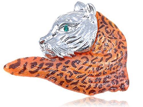 Bobcat Costumes (Alilang Swarovski Crystal Elements Orange Wild Bobcat School Mascot Fashion Pin Brooch)