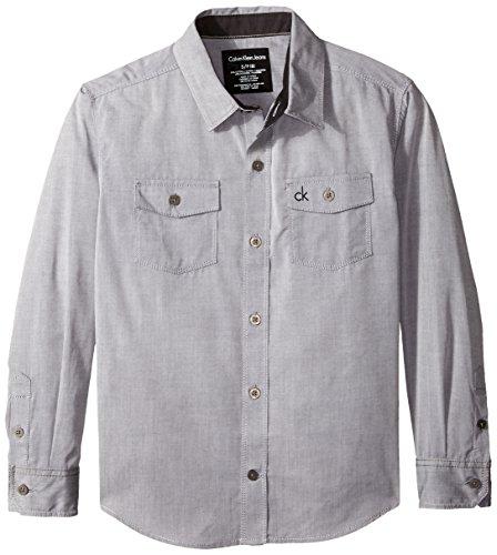 Calvin Klein Big Boys' Atmosphere Twill Long Sleeve Shirt, Grey, Large