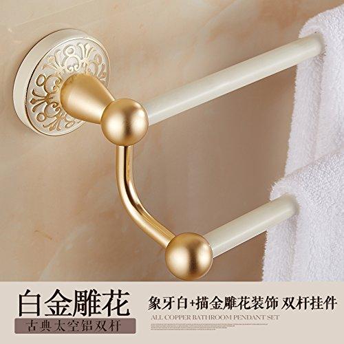 Hlluya Bathroom Accessory Set The Space Aluminum Retro Towel Rack Double bar Towel Rack of Gold-Mounted Towel bar Towel Rack, Platinum Carved