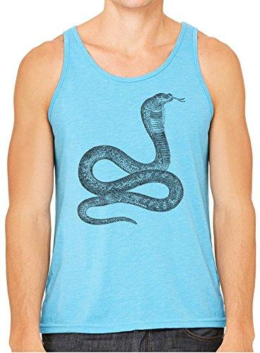 (Austin Ink Striking Egyptian Cobra Snake Printed Unisex Tank Top, Aqua,)