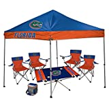 NCAA Hall of Fame Tailgate Bundle - Florida University (1 9x9 Canopy, 4 Kickoff Chairs, 1 16 Can Cooler, 1 Endzone Table)