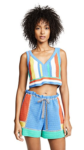 Diane von Furstenberg Women's Crochet Beach Top, Hydrangea Multi, Large