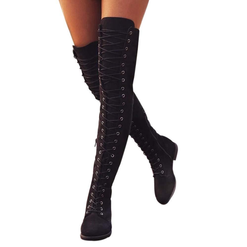 Marlene-Damen Stiefel-Klassischer Schnürhalbschuh Hohe Stiefel Overknee Stiefel Flache Heel Stiefel-Runde Zehe