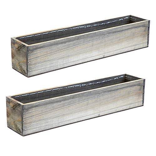 Wooden Planter Box, Rustic Barn Wood with Plastic Liner l Garden Decor l Restaurant and Wedding Decorations l Wedding Bouquets, Table Centerpiece (20x4 Set of 2, Natural) (Flower Box Bench)