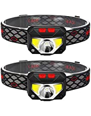 2-Pack Rechargeable Headlamp Flashlight, 800 Lumens Motion Sensor Head Lamp, IPX4 Waterproof, Bright White Cree Led & Red Light, Perfect for Running, Camping, Hiking & More