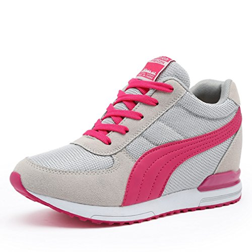 CYBLING Casual Lace Up Hidden Increase Heels Wedge Sneakers for Women Outdoor Sports Shoes