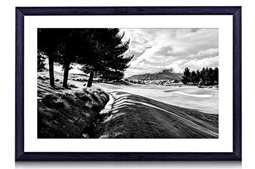 "Lovely Corner In A Golf Course - Art Print Black Wood Framed Wall Art Picture For Home Decoration - Black and White 24""x16"" (60cmx40cm) - Framed"