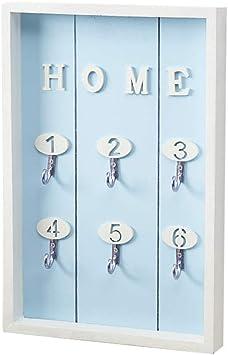 Cajas de madera estilo nórdico para guardar llaves, para colgar en la pared, organizador de joyas, accesorios de manualidades (azul): Amazon.es: Amazon.es
