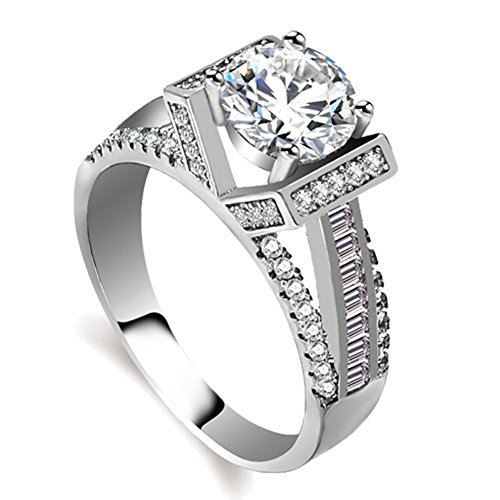 Eternal Love Women's 18K White Gold Plated CZ Crystal Engagement Rings Best Promise Rings Anniversary Wedding for Lady Girl (White Gold, 8) (18k White Gold Ladies Ring)